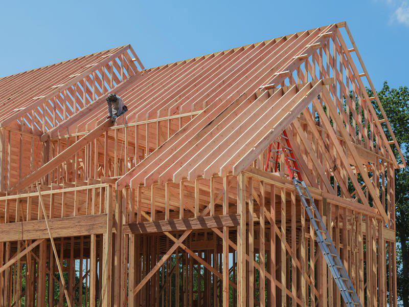 Bauweise eines Hauses mit Holzstaendern